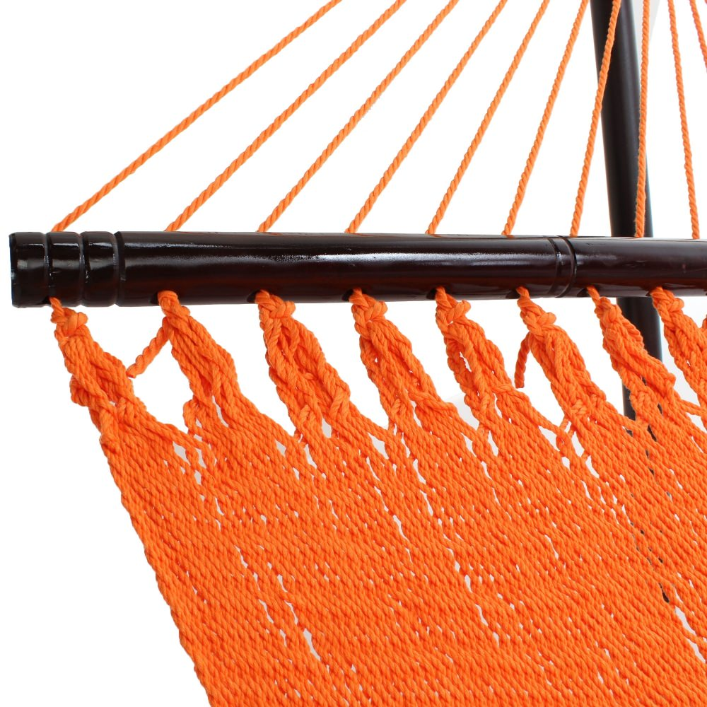 Large Soft Spun Polyester Sunset Orange Caribbean Hammock with FREE Hanging Hardware
