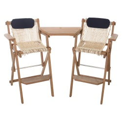 Cumaru Folding Barstool and Tete-a-Tete Table Combo