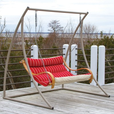 Curved Taupe Metal Swing Stand