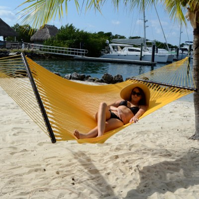 Large Soft Spun Polyester Sunshine Yellow Caribbean Hammock with FREE Hanging Hardware
