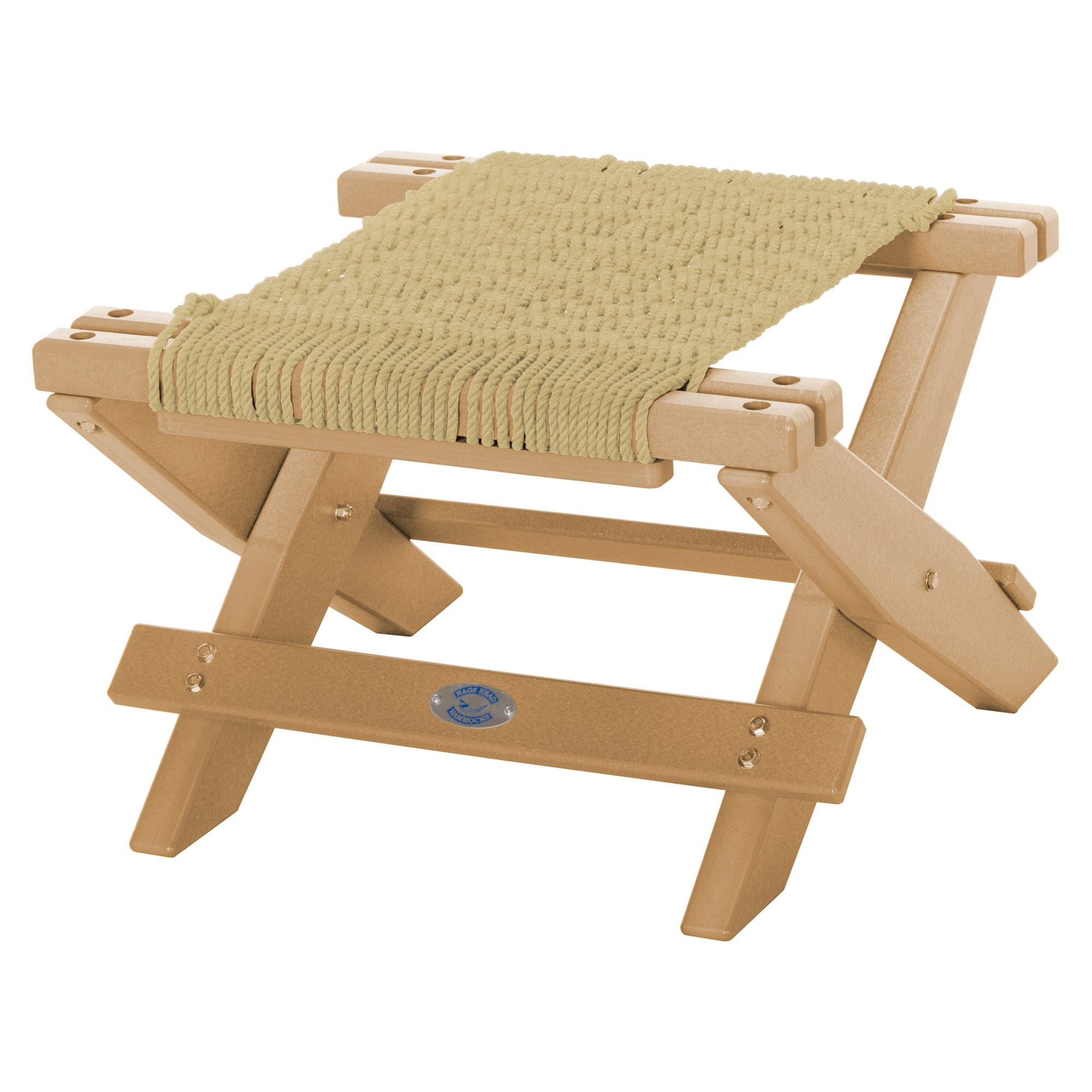 Cedar Durawood Folding Rope Footstool Nags Head Hammocks