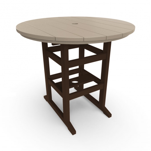 Round Counter Height Table - Chocolate and Weatherwood