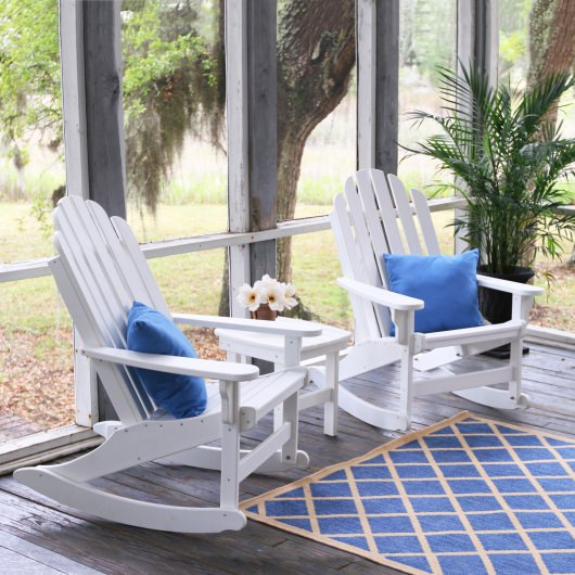 3 Piece Classic Adirondack Rocker Set