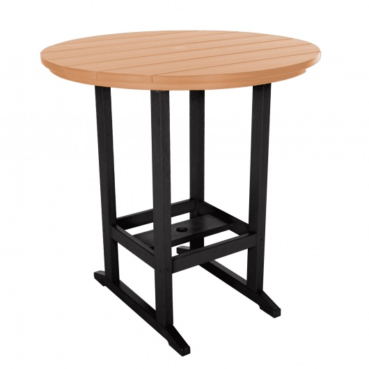Round High Dining Table - Black and Cedar