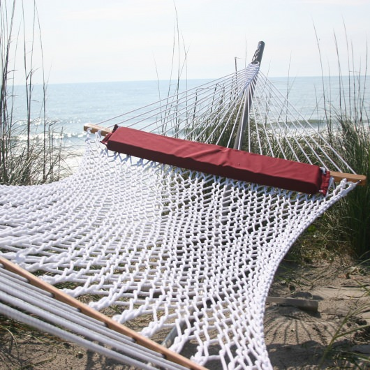 Extra-Wide White Polyester Rope Hammock