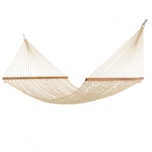 Extra-Wide Oatmeal DuraCord Rope Hammock