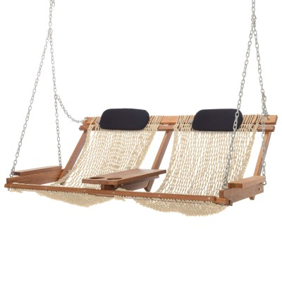 Sunbrella Cast Laurel Cumaru Cushioned Double Swing Nags