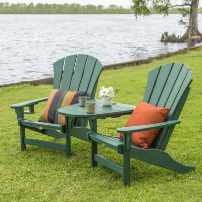 3 Piece Sunrise Adirondack Chair and Tete-A-Tete Set